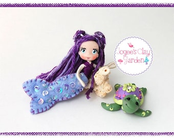 Mini Pose-able artistic polymer clay Purple Mermaid Doll (#4) and Pet Turtle by Jogee's Clay Garden