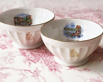 set of 2 french cafe au lait bowl , french seaside Landscape, white ceramic, goldy and white, Fine LIMOGES porcelain France