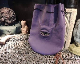 Medium bag---Purple leather with Gold Eye