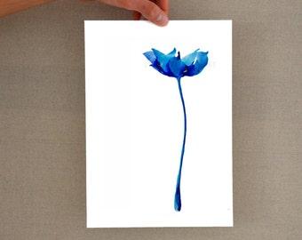 Modern blue flower glicee print, Minimal flower, floral art, flower print, botanical print, flower, tulip print, tulip, tulip art, digital