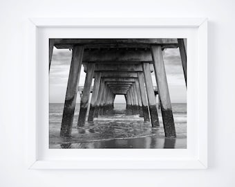 Pier Tybee Island - Beach photo print - Black and white photography - Coastal wall art - 8x10 - Girlfriend photo gift - Ocean art- Large art