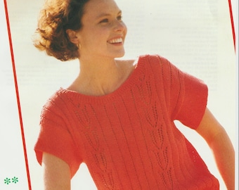 Summer Top With Vertical Lace Panels .Knitting Pattern .PDF file (D13)