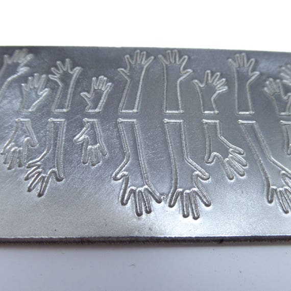 "Hands Rolling Mill Texture Embossing Plate 2"" x 6"" Steel Texture Plate for Rolling Mill or Hammering - Made in USA"