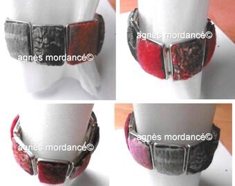 "Bracelet ""Spells"" silks, felt, metal"