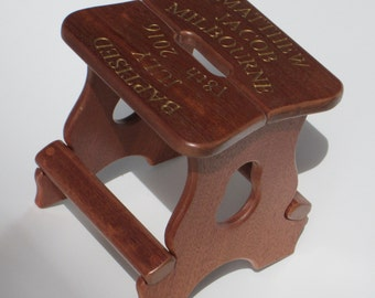 Handmade Child's Stool / Personalised Christening gift / Baptism Gift / Solid Mahogany / Handmade children's furniture / New baby gift