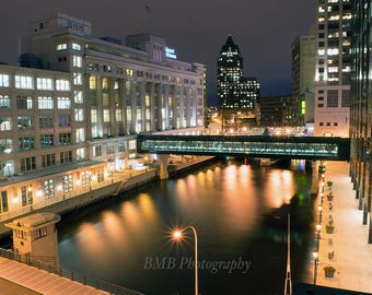 Milwaukee River At Night - Downtown - Buildings On The River - Long Exposure - Color Print - Nightscape - Riverwalk - Milwaukee Art