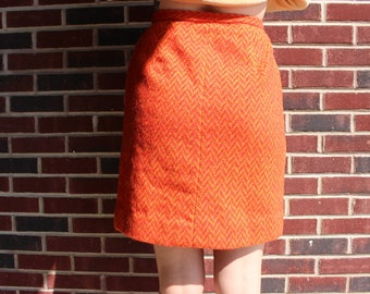 Vintage Retro 70s 1970s Red & Yellow Wool Printed High Waist Pencil Skirt