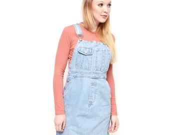 SMALL Jean Jumper Overall Dress / 90s Vintage Light Wash Denim Dress XS/S