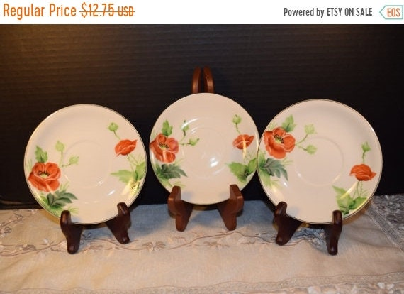 Delayed Shipping Hand Painted Union China Saucers Vintage Set of 3 Saucer Plates Red Flowers Plates Discontinued Replacement Wedding Gift fo