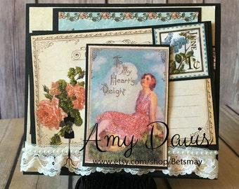 Graphic 45 - Elegant Lady Hearts Delight - Handmade Card