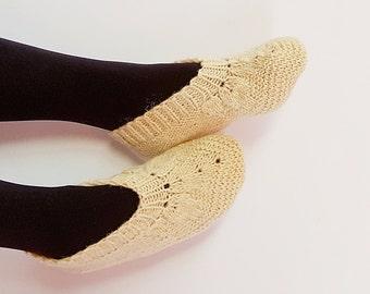 Wool Slippers Women Slippers Hand Knit Natural Wool Slippers For Women Handmade Slippers Ready To Ship 37-38 EU And 38-40 EU