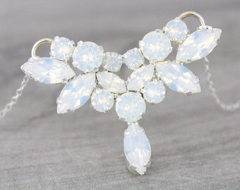 Crystal Bridal necklace Bridal jewelry White Opal necklace