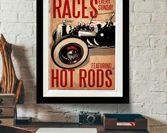 Car Art - Hot Rod Races - Auto Art, vintage car, Automobile Art, Automotive Decor, Man Cave Art, Car Gift, Art Print, Garage Art, Art Print