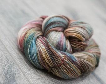 Canadian Hand-dyed sock yarn. 70/20/10 SW Merino/Cashmere/Nylon. 115g 400 yards. Ready To Ship. Bounty Hunter, multi-colored yarn