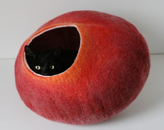 Modern Red Cat Cocoon, Felt Cat Cave, Cat Bed, Cat House, Cat Furniture / Hand Felt Wool , Crisp Contemporary Minimal Design READY TO SHIP