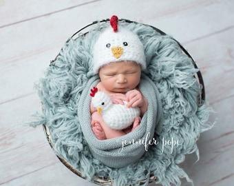 Newborn Baby Rooster Chicken Hat, Chicken Little Stuffie, Custom Made to Order