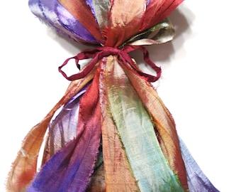 10YD. Lavender and Roses Sari Silk Bundle//Dyed Silk Sari Ribbon Bundle//Sari Tassels,Sari Wall Decor,Sari Fiber Jewelry,Sari Tapestry