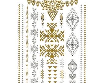 Temporary metallic tattoos in gold, silver tattoos, flash, body art, berber, tribal, gold tattoos, stick on tattoos, desert, favours, henna
