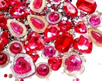 CandyCabsUK 50g Mixed Flatback & 3D Gems Rhinestones Jewels Hot Pink Mix Ice DIY Kit