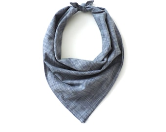 Chambray Bandana Square Scarf Cotton Blue 20""