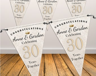 Personalised 30th Pearl Wedding Anniversary Flag Banner Bunting with ribbon N44 (10 Flags ) Hanging Decoration