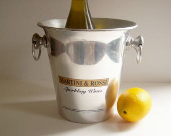 Vintage Martini and Rossi Ice Bucket, Double Handles, Aluminum Silver Toned, Mad Men Barware, Retro Bar Cart