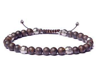 Bead Bracelet for Men - Beaded Bronzite Men's Bracelet - Jewelry for Men - Bracelets for Men - Brown men's bracelet - Man Bracelet
