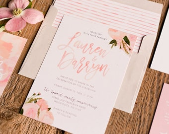 Soft Floral Watercolor Wedding Invites / Pink Blush Green Floral / Semi-Custom Wedding Invitation Suite / Print-at-Home Invitations