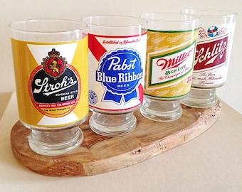Vintage 1970s HUGE Beer Glasses Set of Four Schlitz Pabst Blue Ribbon Strohs Miller Retro Barware