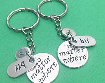 Set of 2 Personalized Keychain 2 BFF Distance Keychain gift for BFF