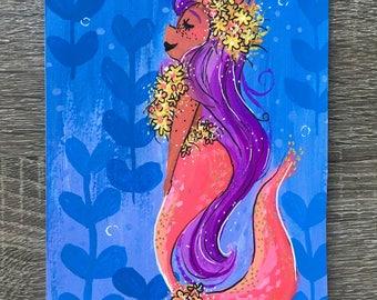 Floral Mermaid Gouache Painting