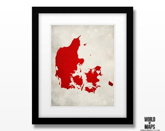 Denmark Map Print - Home Town Love - Personalized Art Print Available in Different Sizes & Colors