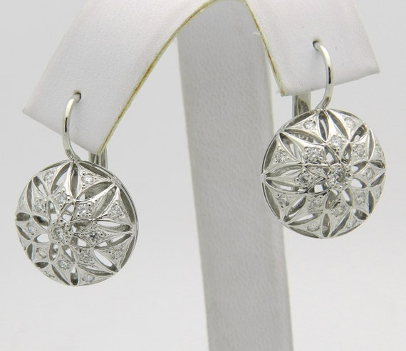 1.00 ct Diamond Snowflake Earrings Vintage Antique Reproduction 14K White Gold