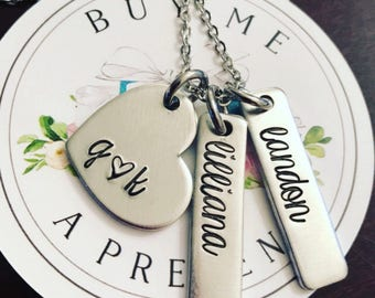 Family necklace - hand stamped jewelry - hand stamped necklace - name necklace - custom necklace - personalized jewelry - mommy jewelry