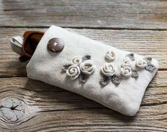 Eco Friendly Roses Sunglasses Case, Natural Linen and Cotton Eyeglasses Case, Floral Eyewear