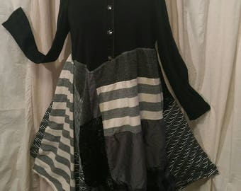 Upcycled boho chic mori girl anthropologie style repurposed bohemian wool free clothing turtleneck tunic dress size medium/LG FREE SHIPPING