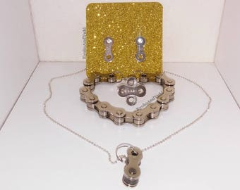 Handmade Bicycle Chain Link Necklace, Bracelet, Ring, and Earring Jewelry 4pc Set
