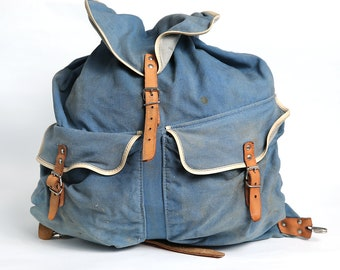 Vintage Distressed Washed Blue Canvas Military Backpack , Medium Backpack Leather Straps, Army, Hiking backpack, Military Rucksack