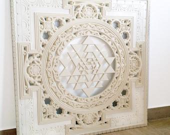 Sri Yantra Mandala. Sacred Geometry Spiritual Wall Art - Sculpture. Authentic Shri Yantra, spiritual heritage of India and Tibet (3'x3'ft.)