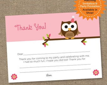 Owl Birthday Note Thank You Card - Pink - Printable Digital Fill In The Blank Note Card - Personal Use Only