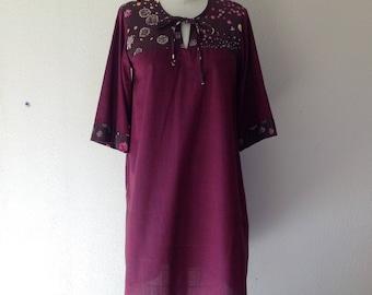 Shot cotton tunic dress with bibbed top- Small/Medium