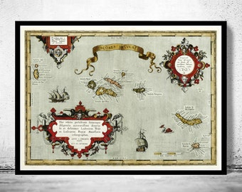 Old Map of Açores Azores Islands 1584,  Portuguese map