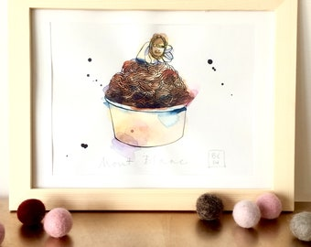 Gateau Mont Blanc Illustration - Cake - French Cake - Pastry  - Original Ink and Watercolour on Paper