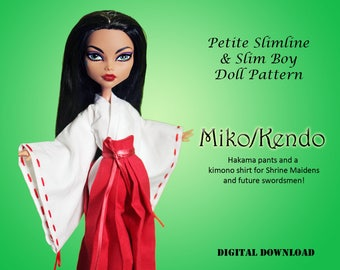 Miko Priestess Kendo cosplay Japanese Doll Clothes PDF Sewing Pattern for Petite Slimline girls boys High Ever After Monster Dal Super Hero