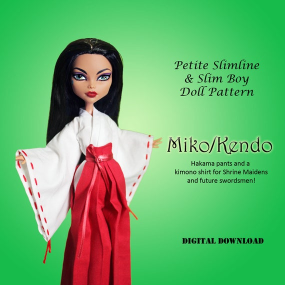 Miko Priestess Kendo Cosplay Japanese Doll Clothes Pdf Sewing