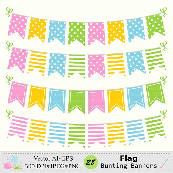 Flag Bunting Banners Clip Art Birthday Party Bunting Banners