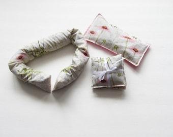 Satin Eye Pillow Lavender Gift Set, Lavender Neck pillow, Lavender Heat Pad Lavender Eye Pillow, Lavender Sachets, New Mom Gift