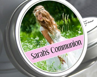 First Holy Communion, Candy Tins, Girls Holy Communion Mint Tins, Communion Favors, Party Favors, Candy Favors, Photo  Communion Favors
