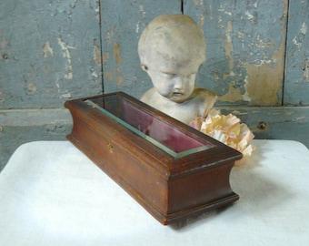 French antique jewelry box gloves box fan box antique fabric box french boudoir wedding tiara box victorian belved glass box shabby chic