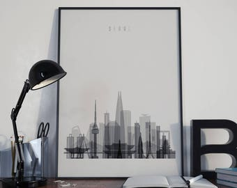 Seoul Art Seoul Watercolor Seoul Multicolor Seoul Wall Art Seoul Wall Decor Seoul Home Decor Seoul Poster Seoul Skyline Seoul Print Unframed